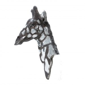Dappled Silver Giraffe Wall Sculpture