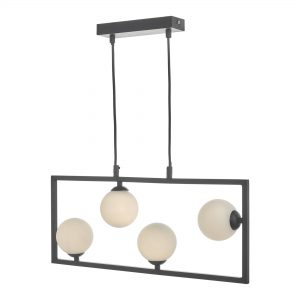 Black Cage Light with Frosted Glass Balls
