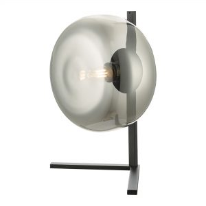 Smoked Glass Lamp on a Black Stand