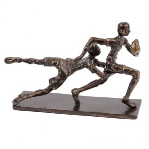 Bronze Finish Rugby Tackle Sculpture