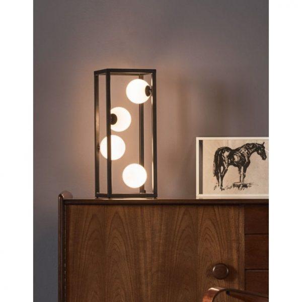Black Frame Lamp with White Lights