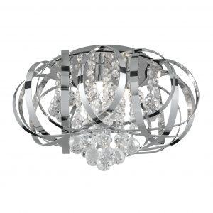 Tilly Chrome & Crystal FLush Ceiling Light