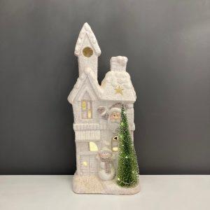 Snowy House with Santa & Snowman